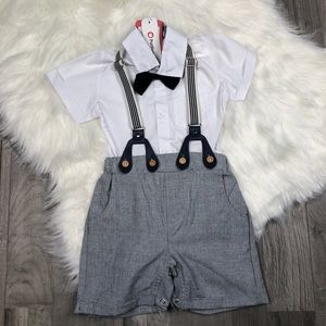 PatPat White Polo Bodysuit & Suspender Outfit